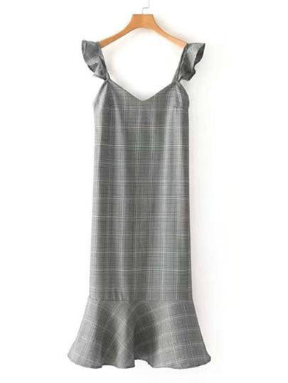 Ruffle Detail Glen Plaid Dress