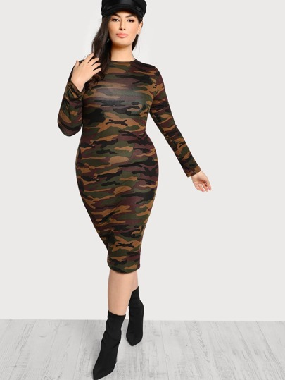 Long Sleeve Solid Dress ARMY