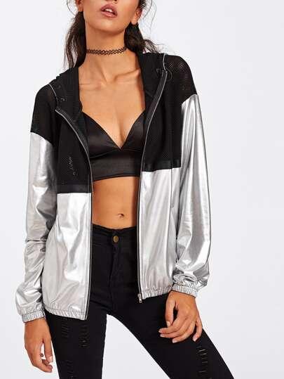 Mesh Panel Two Tone Metallic Hooded Jacket