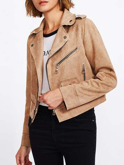 Suede Raw Edge Biker Jacket