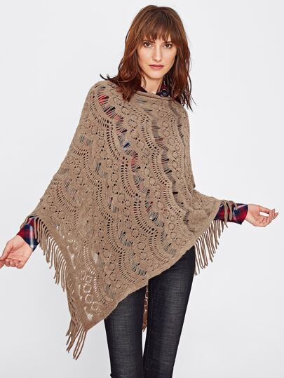 Hollow Out Fringe Poncho Sweater