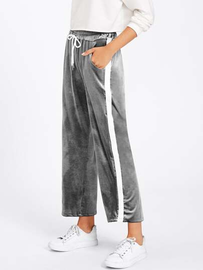 Tape Side Velvet Wide Pants