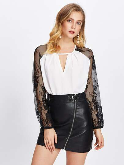 Contrast Lace Raglan Sleeve V Cut Blouse