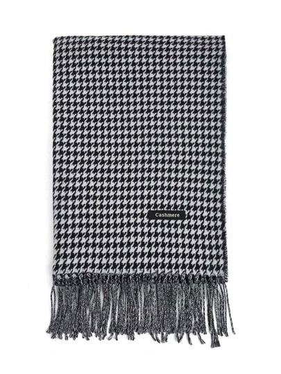 Hahnentritt Schal mit Franse