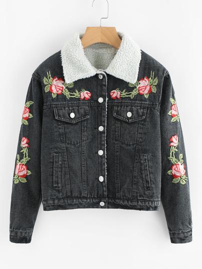 Jeans mit Kunstpelz und Blumen Stickereien