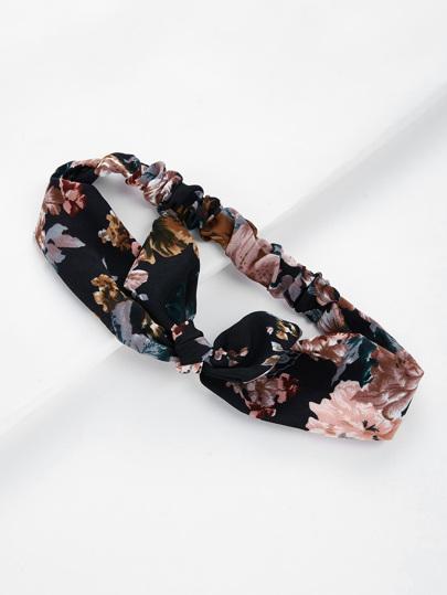 Calico Print Knot Ear Headband