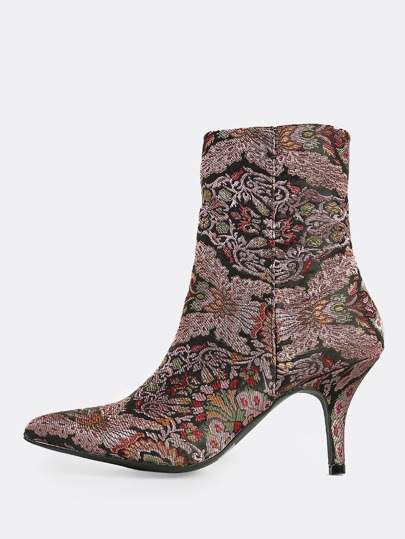 Multi Fabric Print Booties MAUVE