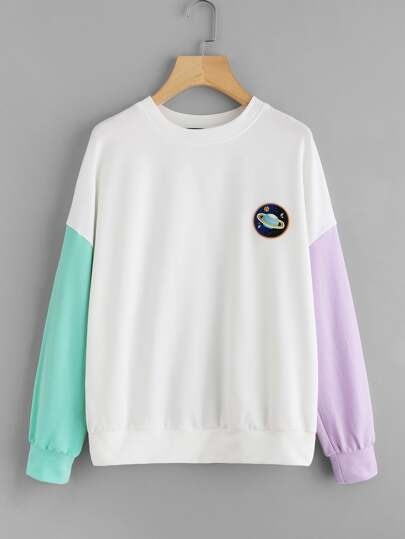 Embroidered Patch Detail Contrast Sleeve Pullover