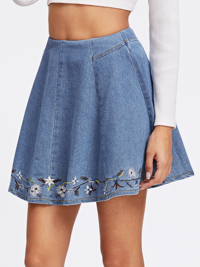 Botanical Embroidered Denim Box Pleated Skirt