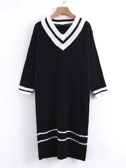 Varsity Striped Sweater Dress