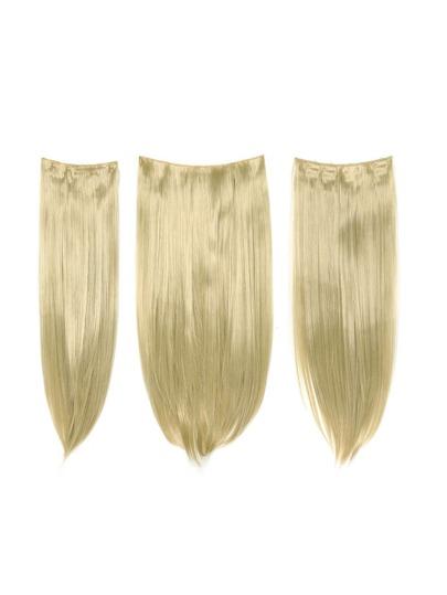 3 piezas de extensión de pelo recto rubio