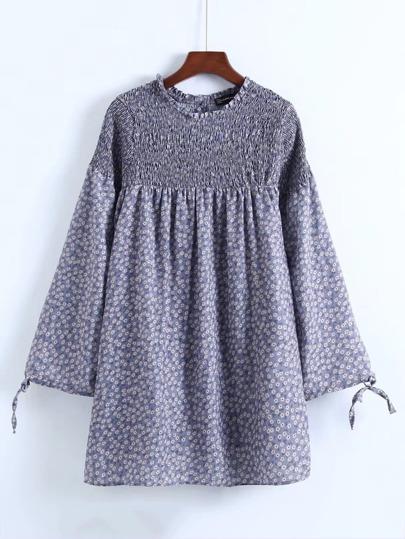Calico Print Shirred Smock Dress