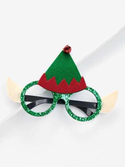 Montura de gafas navideña con sombrero de navidad