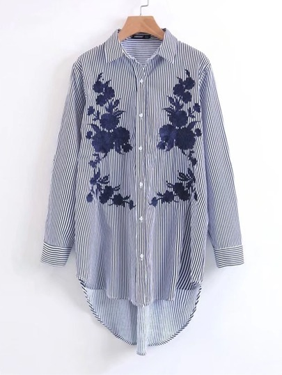 Embroidered Dolphin Hem Striped Shirt Dress