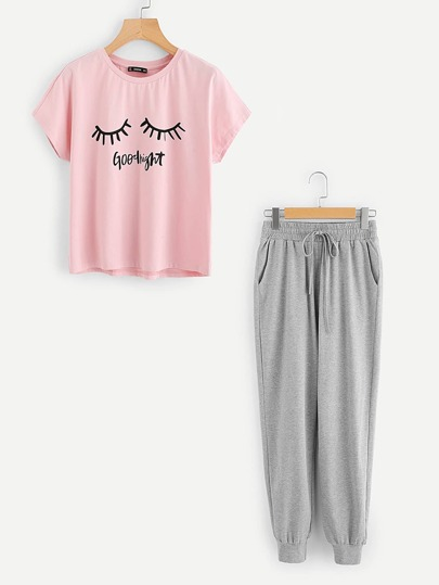 Graphic Tee And Heathered Sweatpants PJ Set
