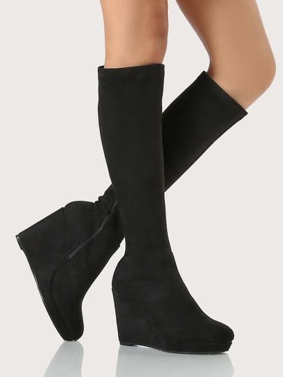 Round Toe Wedged Boot BLACK