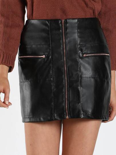 Zip Up Front Pocket Faux Leather Skirt BLACK