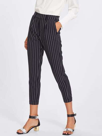 Rolled Hem Vertical Striped Pants