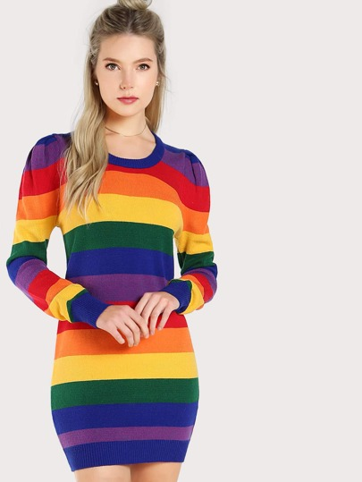 Rainbow Striped Puffed Shoulder Dress RAINBOW