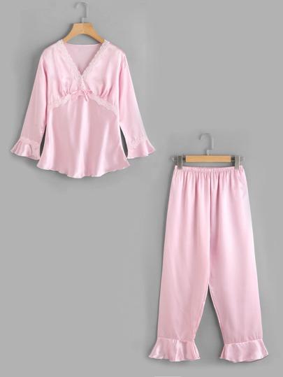 Lace Trim Detail Long Pajama Set