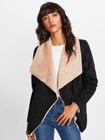 Drape Collar Zip Detail Shearling Coat