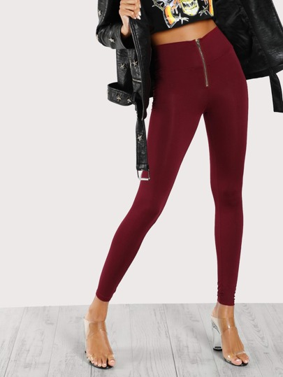 High Waisted Zip Front Leggings