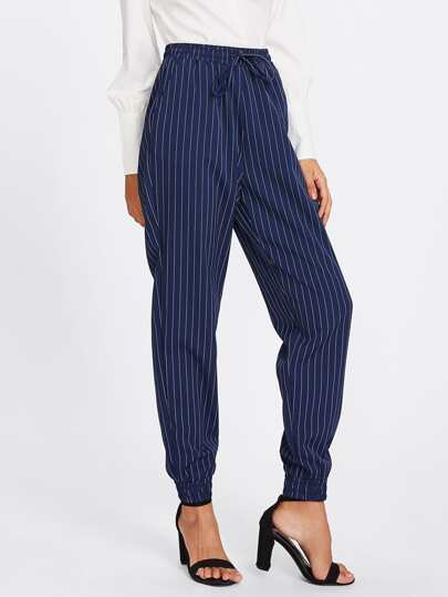 Shirred Waist And Hem Pinstripe Peg Pants