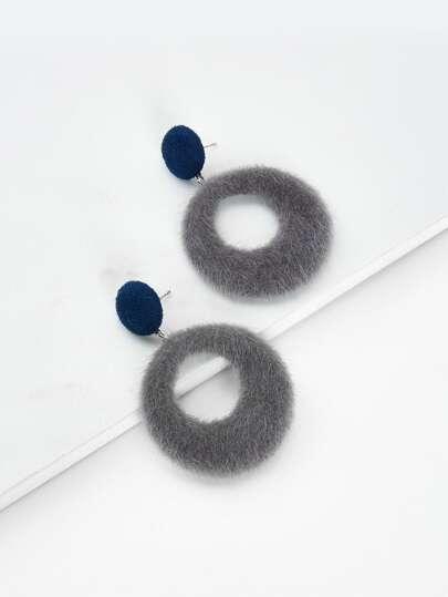 Fuzzy Open Circle Drop Earrings