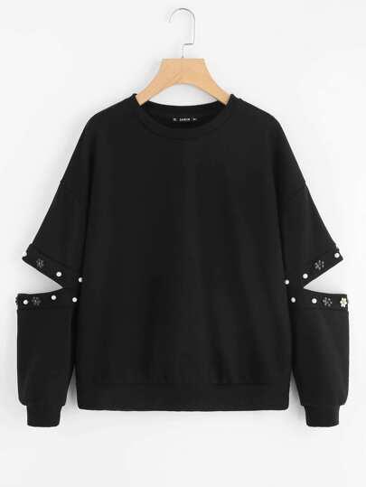 Pullover mit offenem Ellenbogen und Perlen