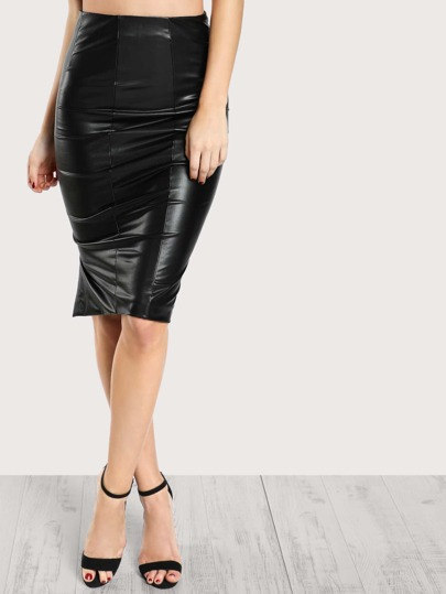 High Rise Faux Leather Skirt BLACK