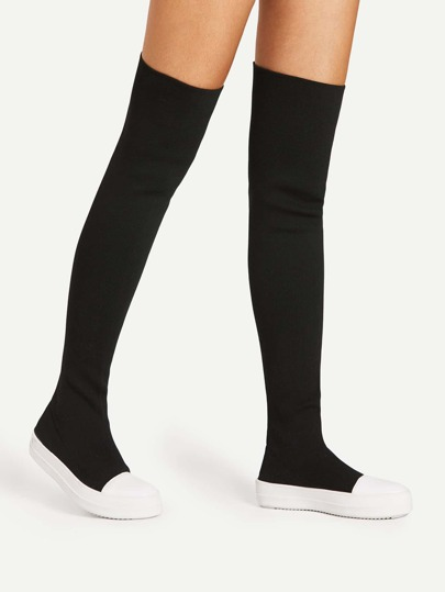 Two Tone Round Toe Thigh High Boots