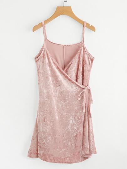 Tie Side Wrap Cami Velvet Dress