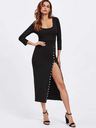 Side Split Studded Detail Dress