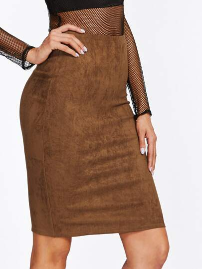 Zipper Slit Back Suede Skirt