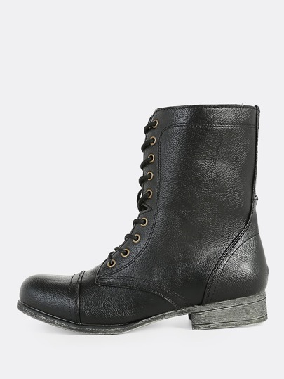 Lace Up Zipper Combat Boots BLACK
