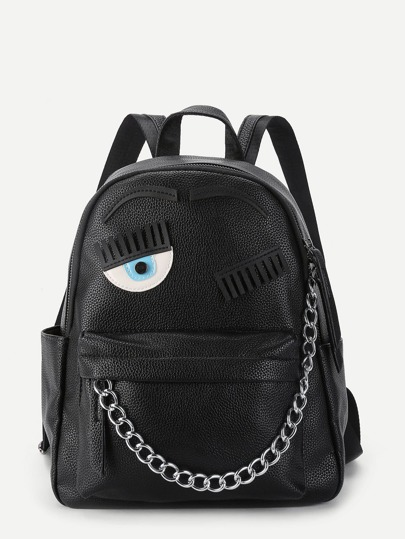 Eye Patch & Chain Front PU Backpack