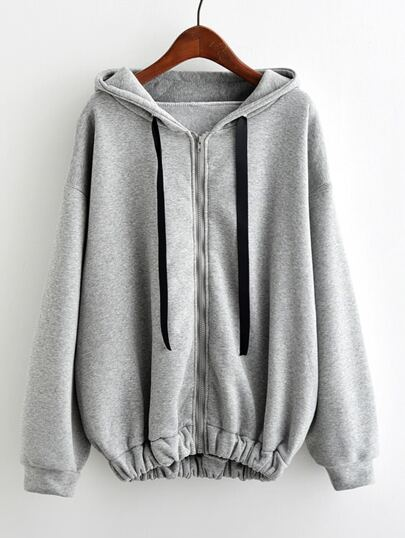 Hooded Drawstring Elastic Hem Zip Up Jacket