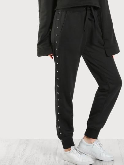 Studded Side Jogger Sweatpants BLACK