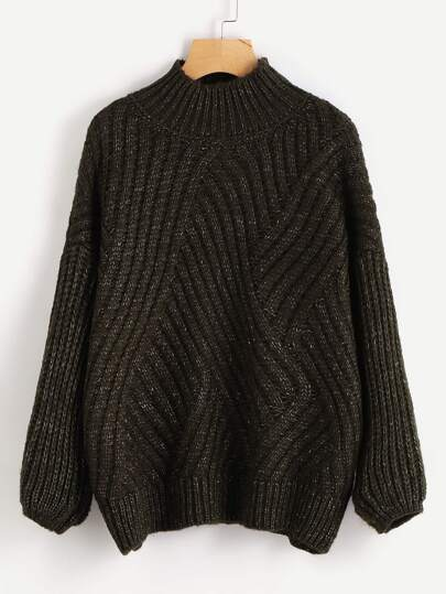Bishop Sleeve Flecked Cocoon Jumper