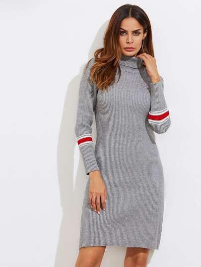Striped Cuff Turtleneck Sweater Dress