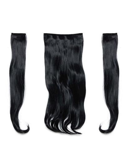 3 piezas de extensión de pelo ondulado negro