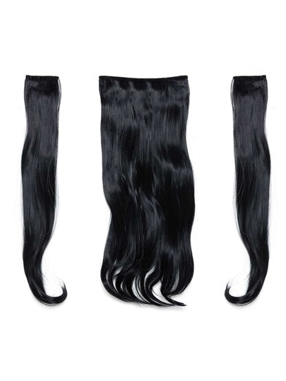Jet Black Clip In Soft Wave Hair Extension 3pcs