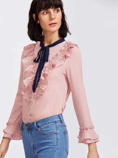 Self Tie Neckline Ruffle Shirt