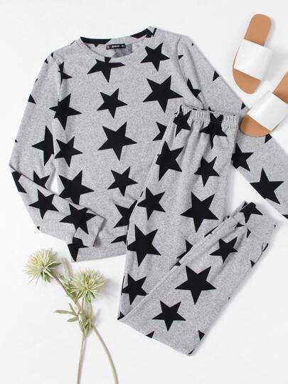 Allover Star Print Heathered Sweatshirt & Sweatpants Pajama Set