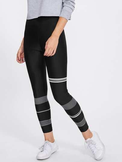 Mixed Stripe Print Leggings