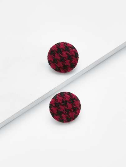Houndstooth Button Design Stud Earrings