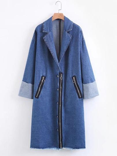 Manteau bord lacéré en denim avec le zip