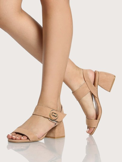 Single Band Ankle Strap Block Heel Flats Taupe