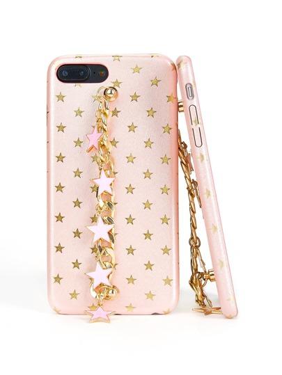 Funda de iPhone con adorno de estrella metálica