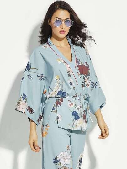 Floral Print Side Split Self Tie Waist Kimono